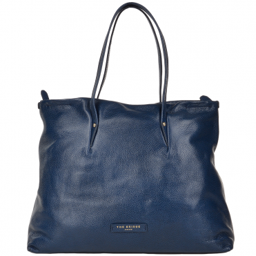 The Bridge Full Grain Italian Leather Shopper Navy Blue/gold - 40227 79 7A NH
