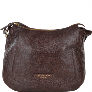 Full Grain Italian Leather Shoulder Bag Brown - 41546 79 14 NH