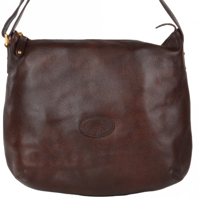 The Bridge Full Grain Italian Leather Shoulder Bag Brown - 44381 79 14 NH