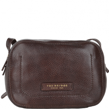 Full Grain Italian Leather Small Cross Body Bag Brown - 41536 79 14 NH