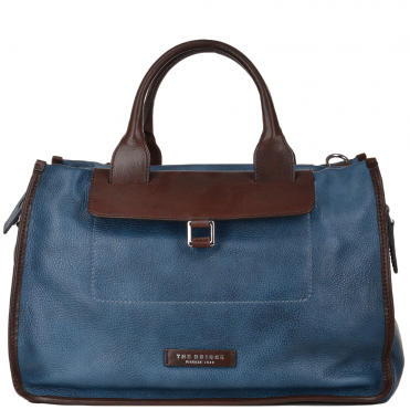 The Bridge Full Grain Italian Leather Travel Bag blue/brn - 070705 2F 2Z NH