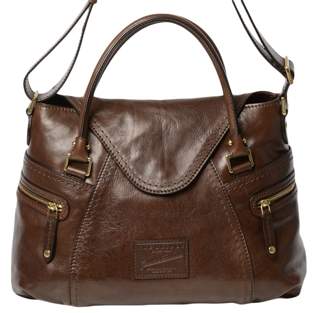 Womens Icons Leather Shoulder Bag Brown 04634001