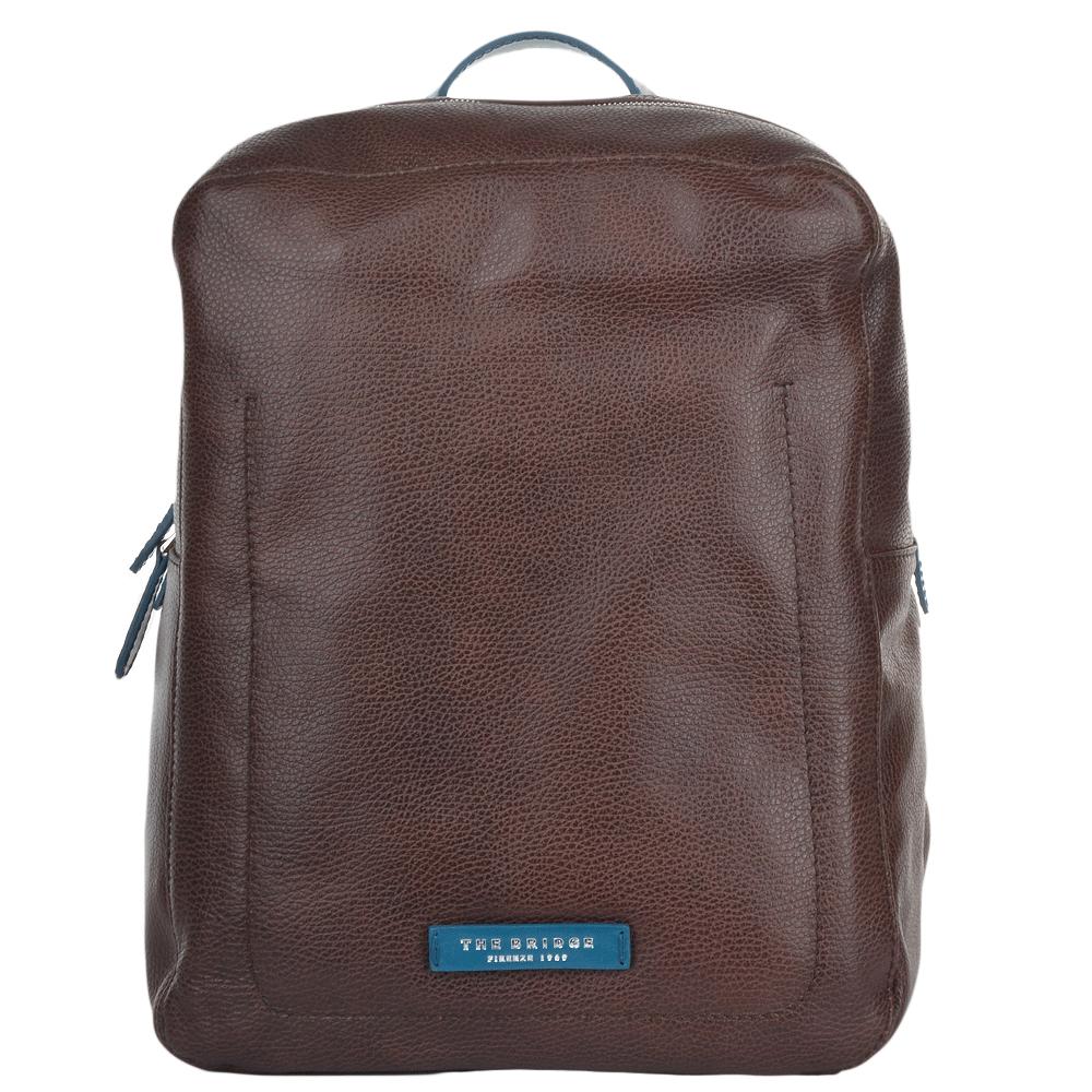 Mens Italian Leather Backpack Brn Blue Ruthenium