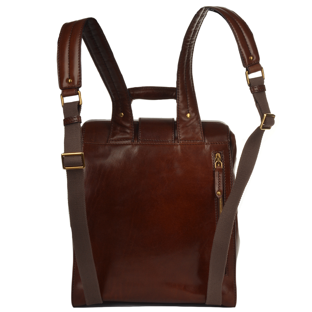 Womens Italian Leather Backpack Brown 68107 01 14 Nh