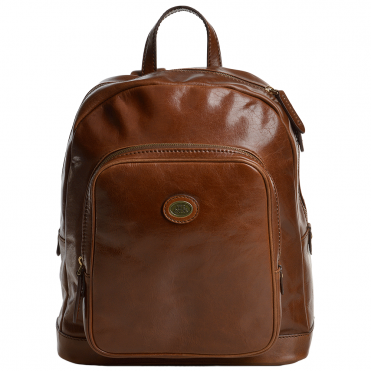 Italian Leather Backpack Tobacco - 67110 01 07 NH