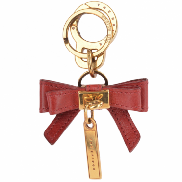 Italian Leather Bag Charm Key Ring Red Current/gold : 091625 01 2E NH