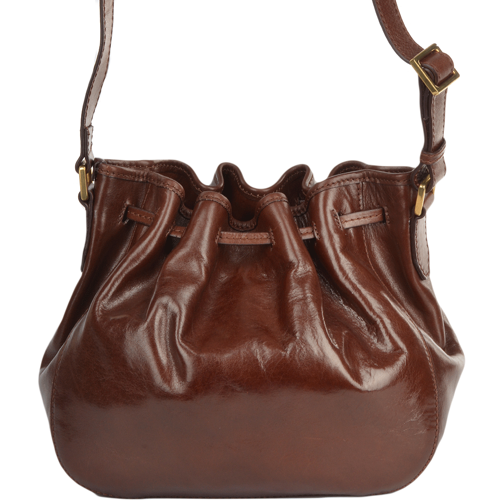 Womens Italian Leather Bucket Bag Brown 41466 01 14 Nh