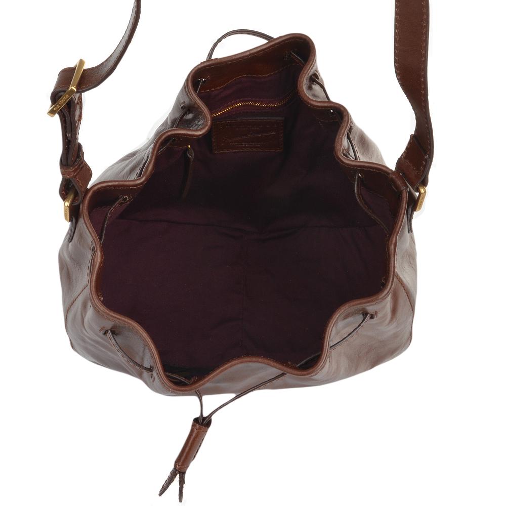 Womens Italian Leather Bucket Bag Brown 41466 01 14 Nh