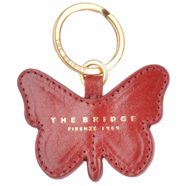 Italian Leather Butterfly Key Ring Red Current/gold : 093616 01 2E NH