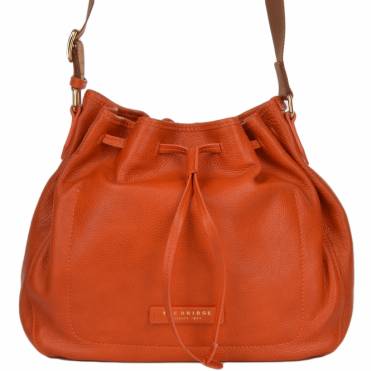 Italian Leather Drawstring Bucket Bag Pumpkin/gold : 41476 79 5B NH