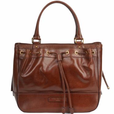Italian Leather Drawstring HandBag Brown : 40537 01 14 NH