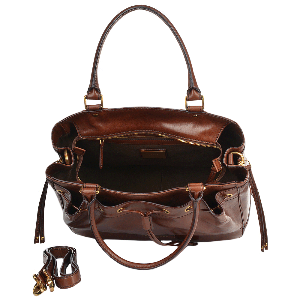 Womens Italian Leather Drawstring Handbag Brown 40537 01