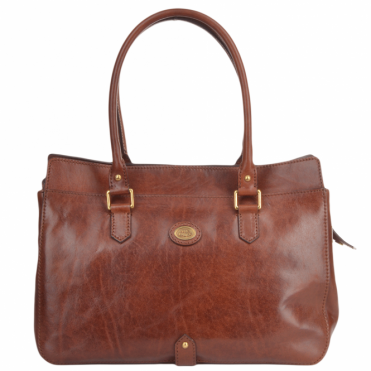 Italian Leather Hand Bag Brown : 44673 01 14 NH