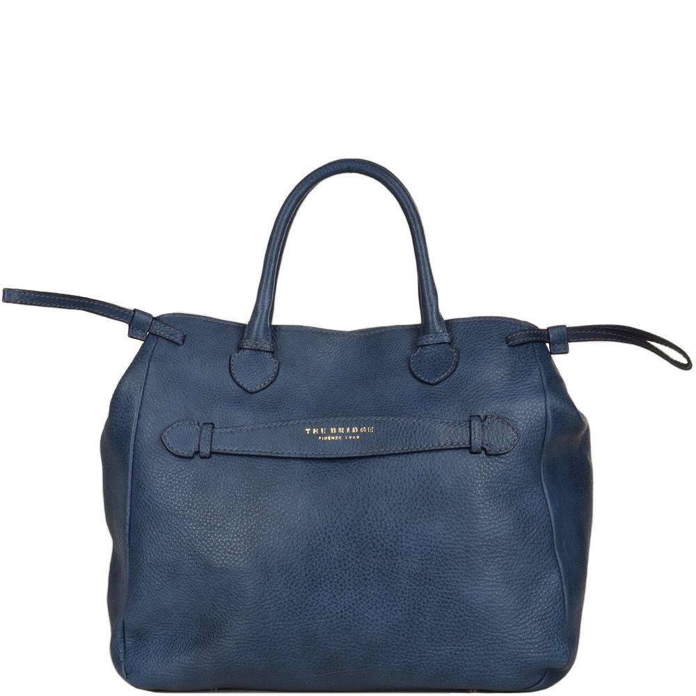 Italian Leather Handbag Blue 004092579 2f Womens