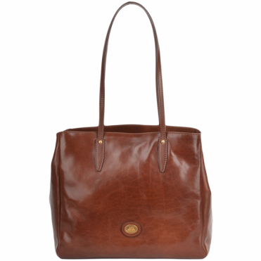 Italian Leather Handbag Brown : 40976 01 14 NH