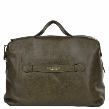 Italian Leather HandBag Green Moss/gold : 41425 79 61 NH