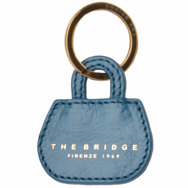 Italian Leather Key Ring Blue/gold 093606 01 6A NH