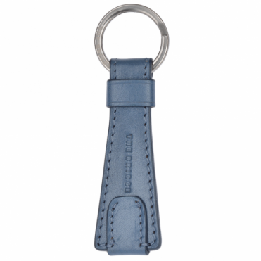 Italian Leather Key Ring Iron Blue : 091515 01 2A NH