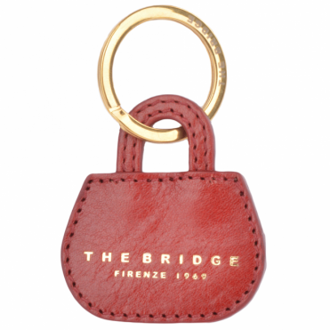 Italian Leather Key Ring Red Current/gold : 093606 01 2E NH