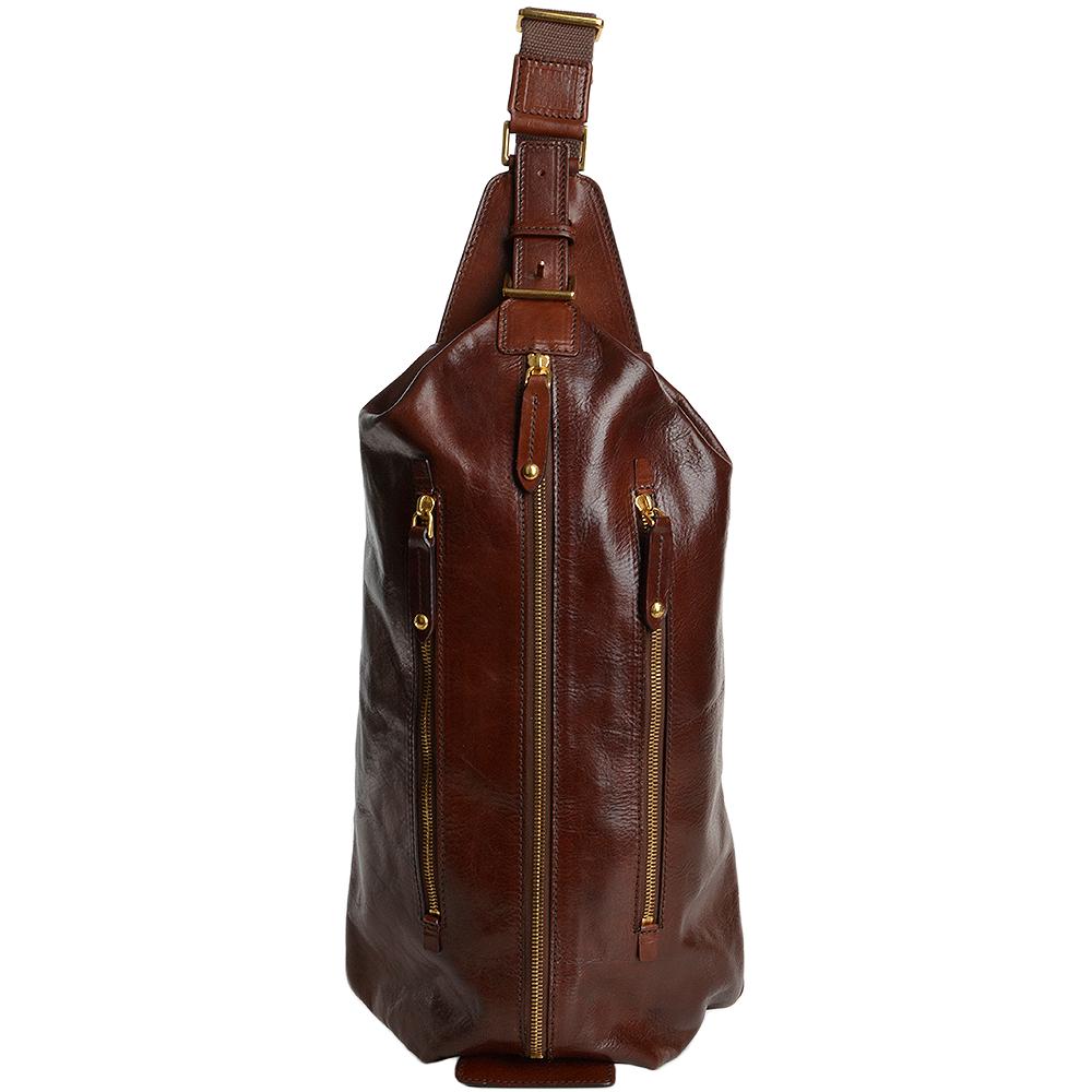 b83900966e The Bridge Italian Leather Single Strap Backpack Brown gold - 052144 1O 14  NH