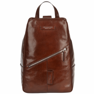 Italian Leather Single Strap Backpack Brown/palladium: 63606 01 69 NH