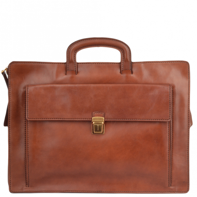 The Bridge Italian Leather Slim Briefcase Brown : 61239 30 14 NH