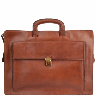 Italian Leather Slim Briefcase Brown : 61239 30 14 NH