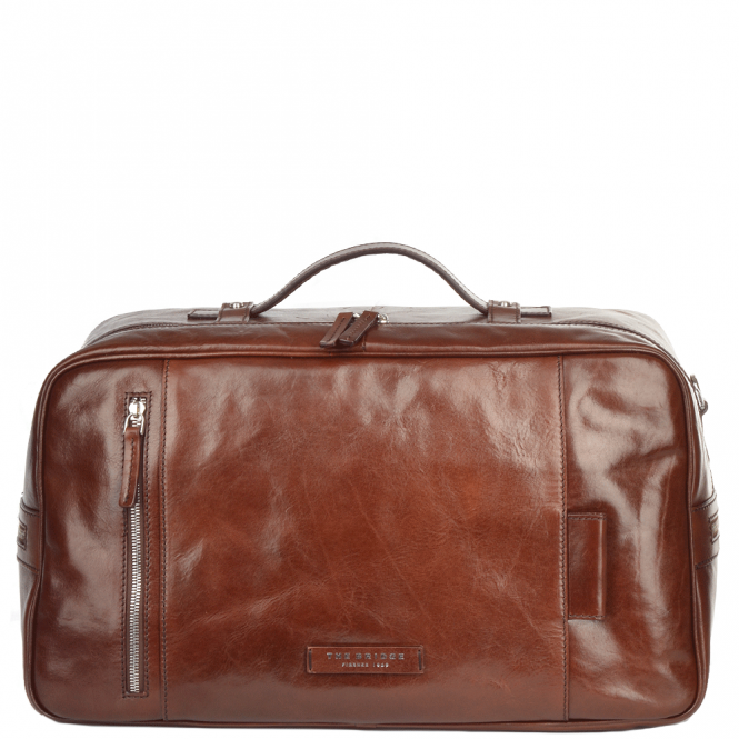 The Bridge Italian Leather Two Zip Pocket Holdall Brown/palladium : 73606 01 69 NH