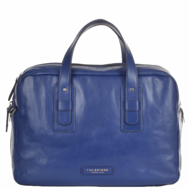 Italian Leather Work Bag French Blue/ruthenium : 61205 01 4Y NH