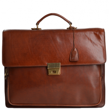 The Bridge Large Double Gusset Italian Travel Briefcase Brown - 64315 01 14 NH