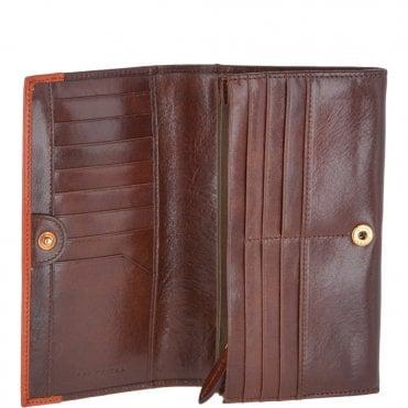 0b8cc4043 Large Italian Leather 16 Card Foldout Purse Brown/Orange : 01766501 5A