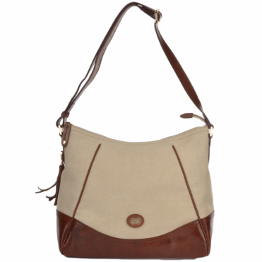 Large Italian Leather And Material Shoulder  Bag  Cream/brown : 44234 15 42 NH