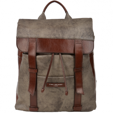 Large Italian Leather Backpack Dove Grey/brn : 060307 3U 5V NH
