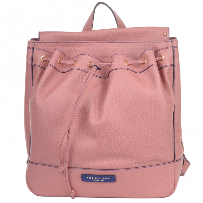 The Bridge Large Italian Leather Three Pocket Rucksack Dusty Rose/gold: 40546 85 5F NH