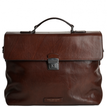 The Bridge Large Italian Travel Briefcase With Lock Brown/ruthenium - 61225 01 90 NH