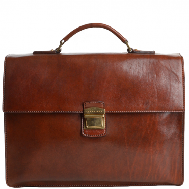 The Bridge Large Triple Gusset Italian Travel Briefcase Brown - 64418 01 14 NH
