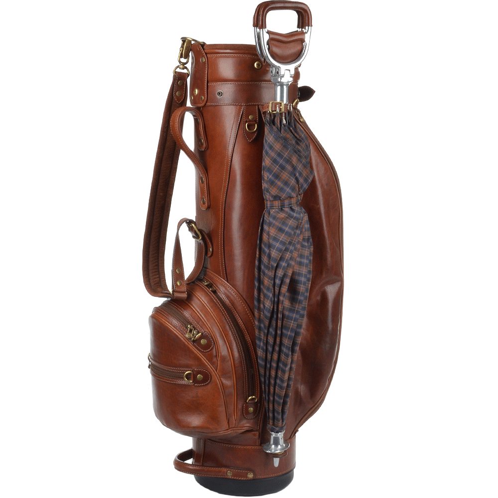 Leather Golf Bag In Brown Hide 078123 Italian Leather