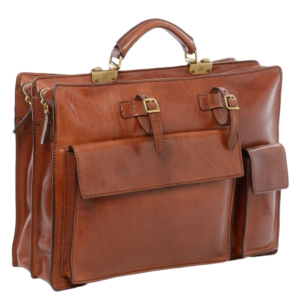 mens leather work bag brown   00019811