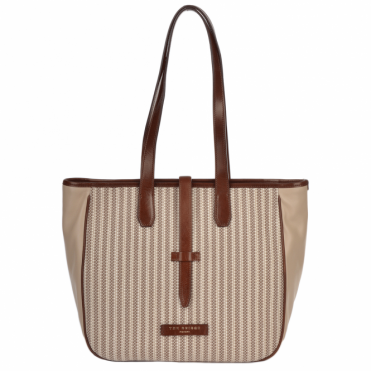 Medium Italian Leather and Woven Material Shopper : Straw Brown : 041427 3T 3B NH