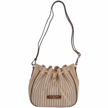 Small Italian Leather and Woven Material Drawstring Bucket Bag: Straw Brown : 041417 3T 3B NH
