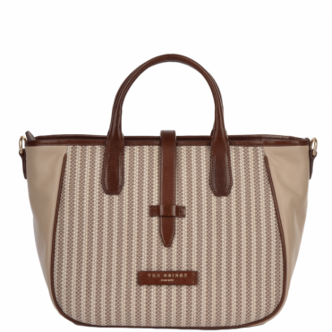 Small Italian Leather and Woven Material Handbag: Straw Brown : 041437 3T 3B NH