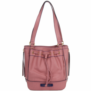Small Italian Leather Drawstring Pocket Handbag Dusty Rose/gold : 40506 85 5F NH