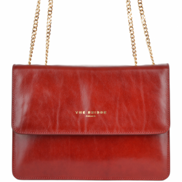 Small Italian Leather Shoulder Bag Red Current/gold: 42327 01 2E NH