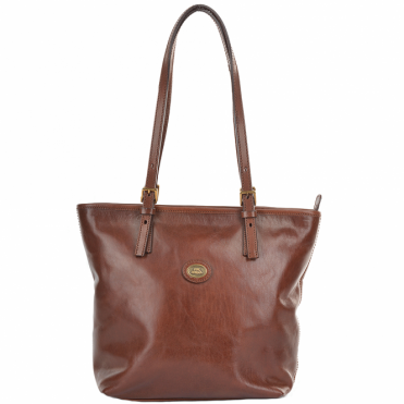 Small Italian Leather Tote Bag Brown : 04901501