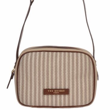 Small Italian Woven Material And Leather Shoulder Bag : Straw Brown : 041407 3T 3B NH