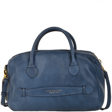 Womens Italian Leather Travel Handbag Blue - 004093579 2F