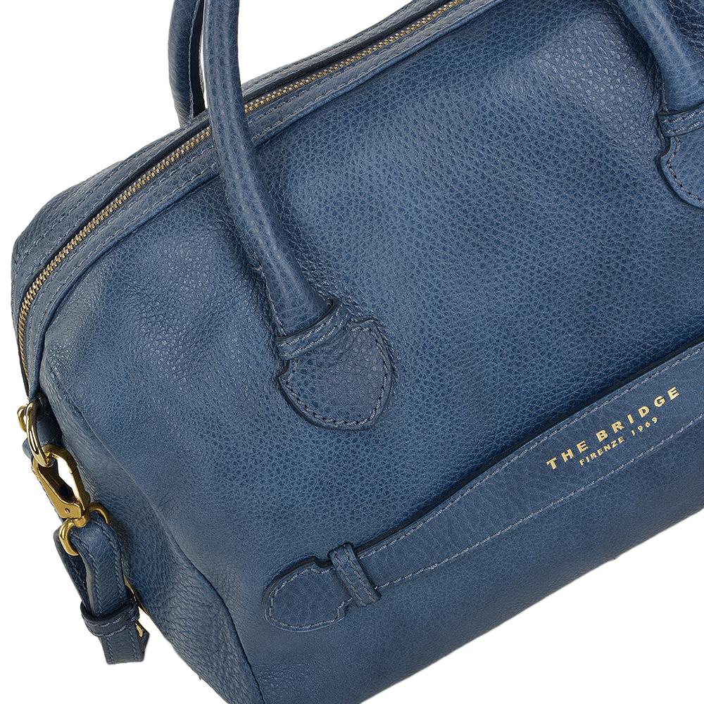 e06819a42650 Womens Italian Leather Travel Handbag Blue - 004093579 2F