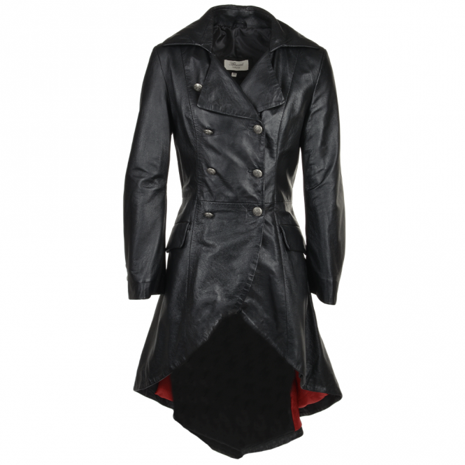 Womens Double Breasted Dove Tail Gothic Coat Black Raven