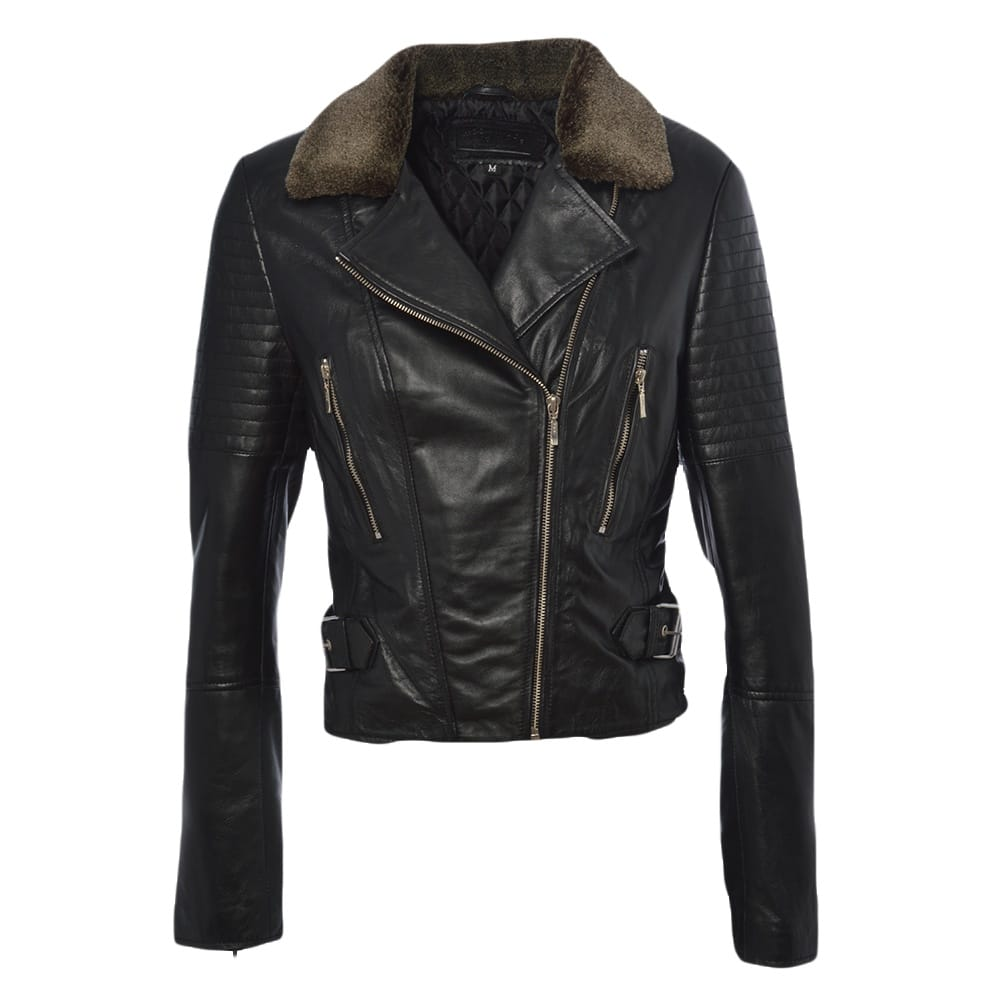 Womens Fur Leather Jacket Black   Felicity  89087d5eb