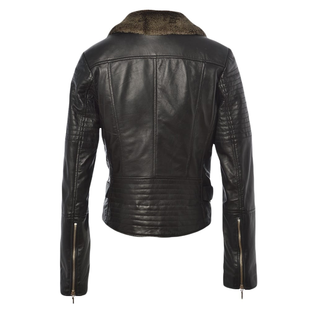 well known best sneakers fair price Fur Leather Jacket Black : Felicity